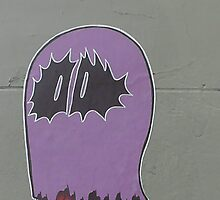 Purple Ghost Street Art by boldoflorine