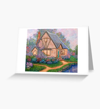 COTTAGE ORIGINAL OIL PAINTING Greeting Card