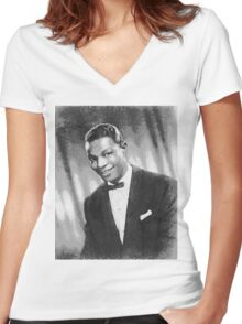 Nat King Cole (Nathaniel Adams Coles) March 17 1919 - February 15, 1965 Women's Fitted V-Neck T-Shirt
