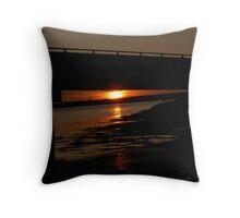 Red Sunset Under the Bridge Throw Pillow