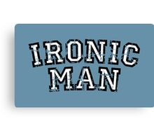 IRONIC MAN Vintage White Canvas Print