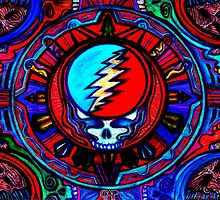 Grateful Dead Steal Your Face Skull / Jerry Garcia Tapestry Psychedelic Hippie Band Design by capartwork