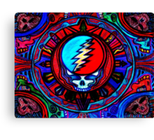 Grateful Dead Steal Your Face Skull / Jerry Garcia Tapestry Psychedelic Hippie Band Design Canvas Print