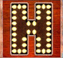 Vintage Lighted Sign - Monogram Letter H by Mark Tisdale