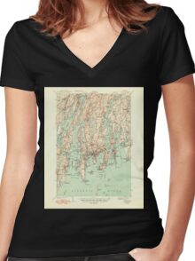 Maine USGS Historical Map Boothbay 460224 1943 62500 Women's Fitted V-Neck T-Shirt