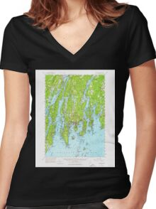 Maine USGS Historical Map Boothbay 460228 1957 62500 Women's Fitted V-Neck T-Shirt