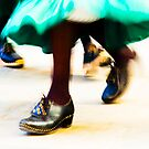 green skirt and clogs by Fran  Purdy