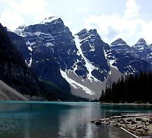 Lake Moraine In The Rocky Mountains by Laurie Puglia