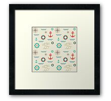 Nautical pattern. Hipster image Framed Print