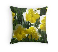 White and Yellow Daffodils Throw Pillow