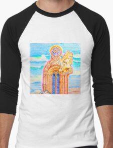 Janela Manuelina. Jerónimos.Monstrinhos Manuelinos.The Templar cross and little monsters Men's Baseball ¾ T-Shirt