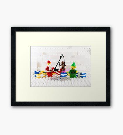 Santa Fishing for Gifts Framed Print