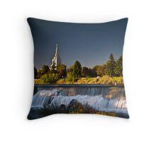 Sun down on the Idaho Falls temple Throw Pillow