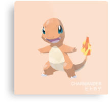 Charmander Low Poly Metal Print