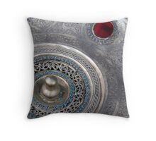 Silver plate at the souk Throw Pillow