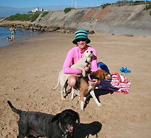 5 Sera with her Spoodle, Beagle & Schitzu by Cathie Brooker