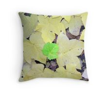 One Green Leaf Throw Pillow