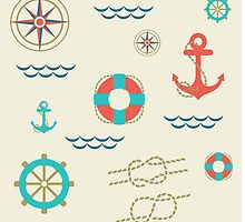 Nautical pattern. Hipster image by motuwe