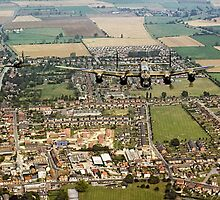 BBMF Lancaster and Hurricane over Bourne, Lincs by Colin Smedley