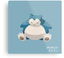 Snorlax Low Poly Metal Print