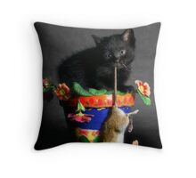 Rat Cat Throw Pillow