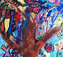 A tree with lots of birds by Likkka