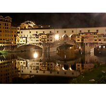 Ponte Vecchio Florence Italy at night Photographic Print