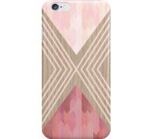 pink texture and geometric patterns on wood iPhone Case/Skin