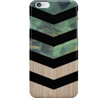 green pattern with geometric shapes and black chevron on wood iPhone Case/Skin