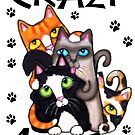 Crazy For Cats Art Poster Print by Jamie Wogan Edwards