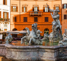 Neptune Fountain on Piazza Navona - Impressions Of Rome Sticker