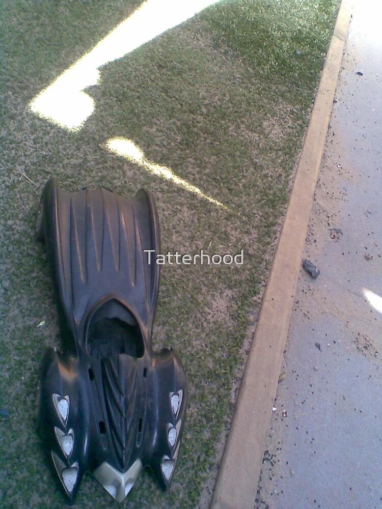 Batmobile idling by the sandpit by Tatterhood