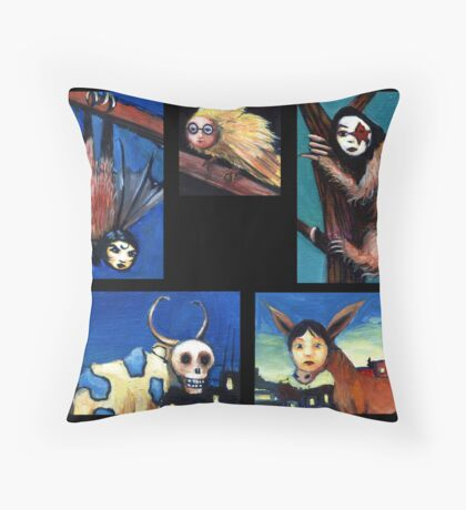 Masked Animals Throw Pillow