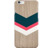 Chevron on wood with dark blue and pink colors iPhone Case/Skin