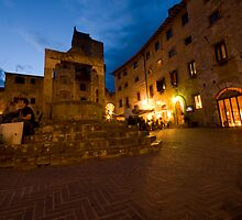 San Giminignano Italy at night #1 by Moshe Cohen