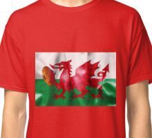 Welsh Dragon Rugby Ball Flag Classic T-Shirt