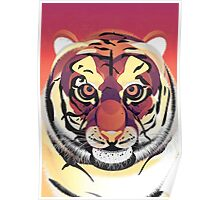 Digital Tiger Illustration Poster