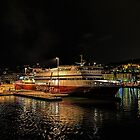 Ancona harbour at night. by Colin Metcalf