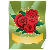 Card with red roses Poster
