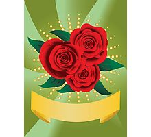 Card with red roses Photographic Print