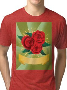 Card with red roses Tri-blend T-Shirt