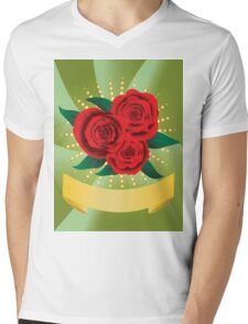 Card with red roses Mens V-Neck T-Shirt