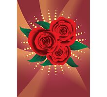 Card with red roses 2 Photographic Print