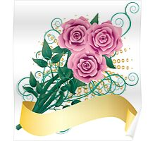 Card with pink roses Poster