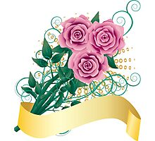 Card with pink roses Photographic Print