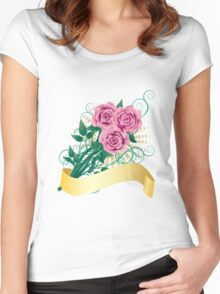 Card with pink roses Women's Fitted Scoop T-Shirt