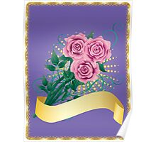 Card with pink roses 2 Poster
