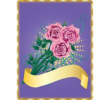Card with pink roses 2 Photographic Print