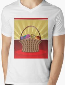Easter card with eggs Mens V-Neck T-Shirt