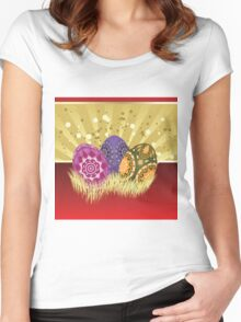 Easter card with eggs 2 Women's Fitted Scoop T-Shirt